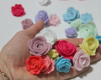 40 Piece, Two Sizes Assembled Felt Roses, Flowers, Pastel Colors For Spring, Easter Themes