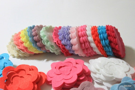 40 Piece Die Cut Unassembled Felt Rose (Large) - Flower Shapes- Pastel Colors For Spring, Easter Themes
