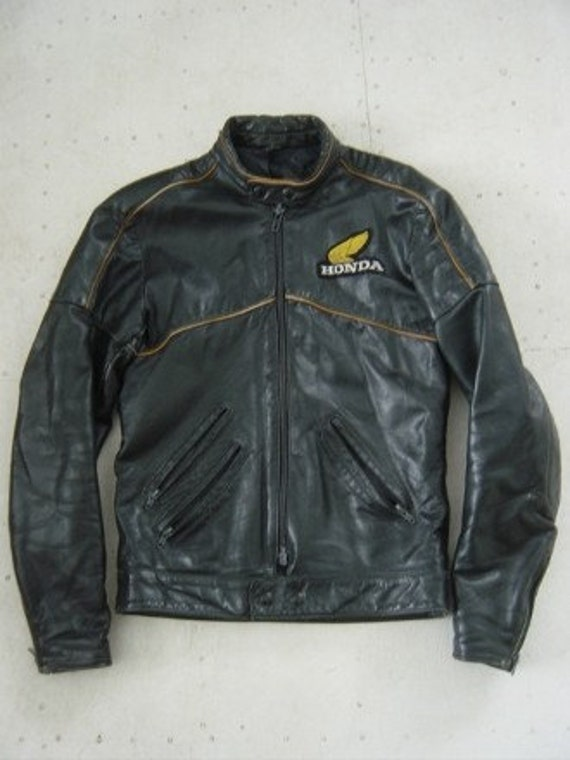 Honda Hondaline Vintage Black Leather Motorcycle Jacket Coat