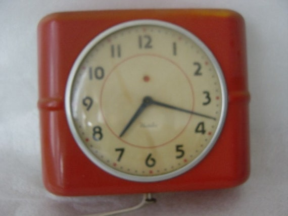 Red Metal Square Vintage Kitchen Table Electric Westclock