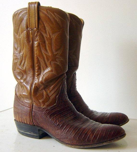 Tony Lama custom vintage Lizard Cowboy Boots, size 7 womens