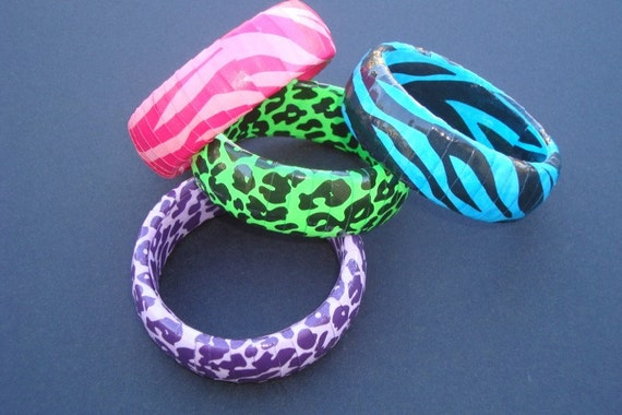 Animal Print Paper wrapped upcycled bracelets in neon colors