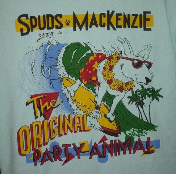 Vintage Bud Beer Spuds Mackenzie Button Up Shirt Large