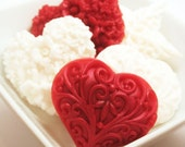 Valentine's Gift Soap - Sweetheart Soap Gift Set - Red and White Heart Soaps in Secret Garden