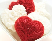 Red and White Valentine's Heart Soaps - Valentine's Day Gift Set - Decorative Soap - Scented Heart Soap