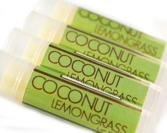 CLEARANCE SALE - Coconut Lemongrass Lip Balm - One Tube - Beeswax Lip Balm with Shea Butter