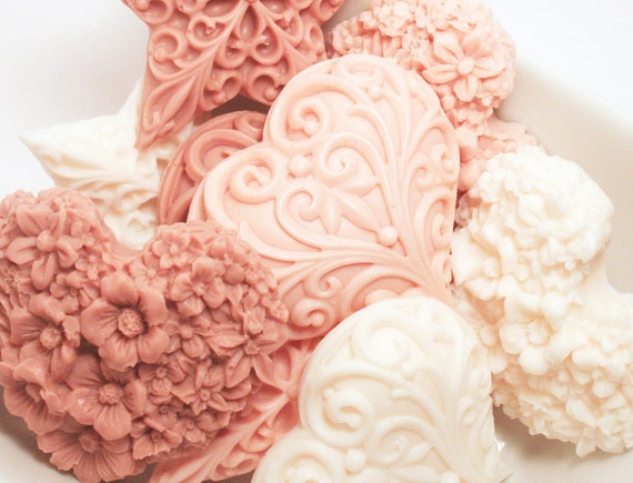 Heart Soaps - Vanilla Decorative Soap Vegan Soap Baby Shower Hostess Gift Set Floral Soap