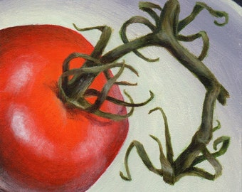 Original Small Acrylic Painting, Food Art Still Life Painting of Tomato for Kitchen Decor