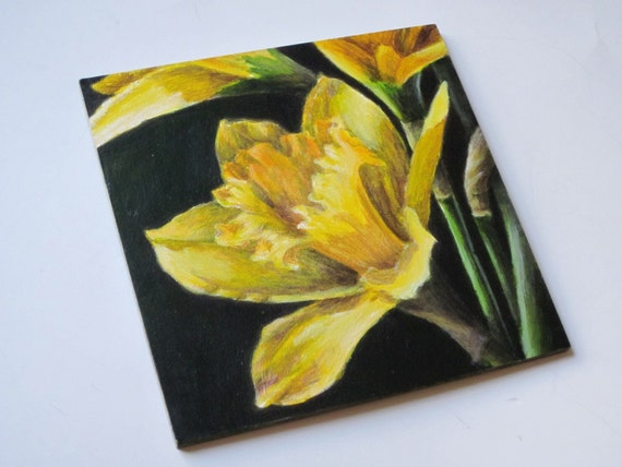 Small Acrylic Painting - Floral Still Life Painting - Yellow Daffodil Art for Home Decor