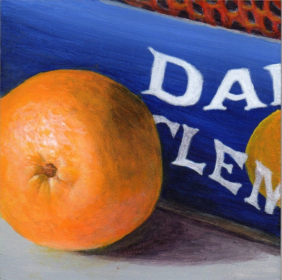 Still Life Painting with Orange Kitchen Decor Small Painting