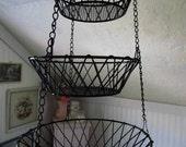 3 Tier Black Heavy Duty Hanging Basket