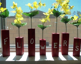 Flowers Spelled  Mini Vases
