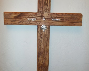 Inspirational Strength & Wisdom Handmade Large Cross
