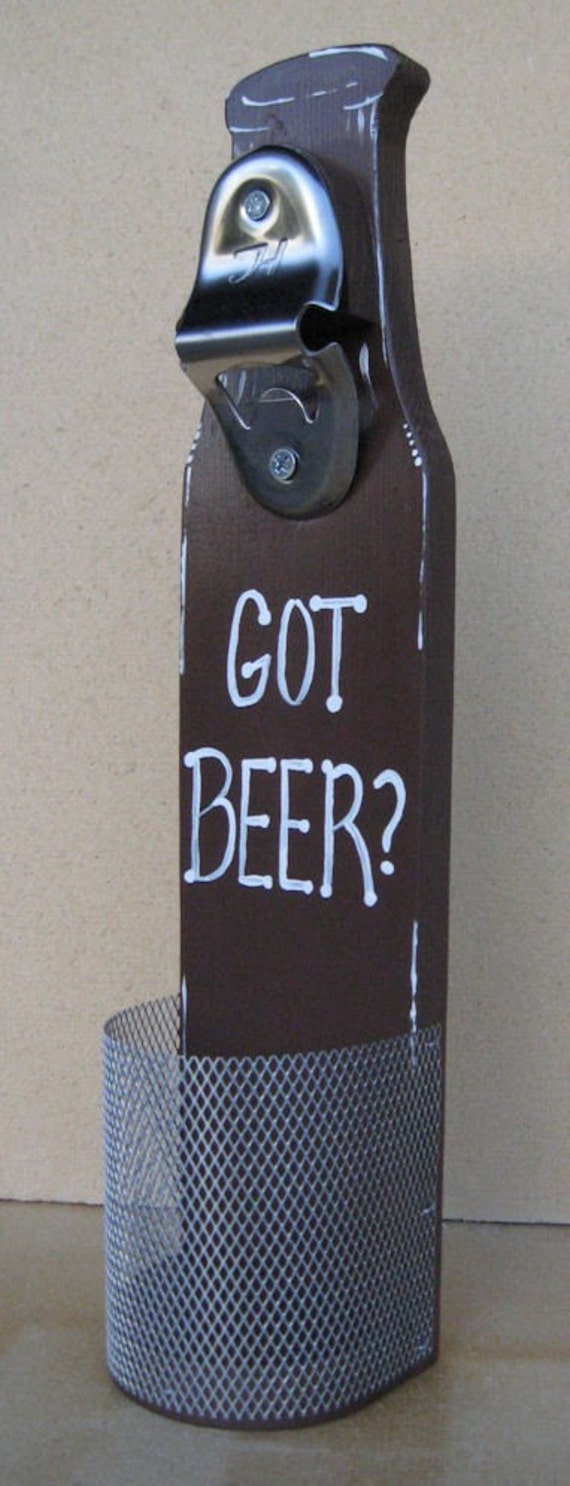 Beer bottle opener with cap catcher wall mounted got - Wall mounted beer bottle opener cap catcher ...