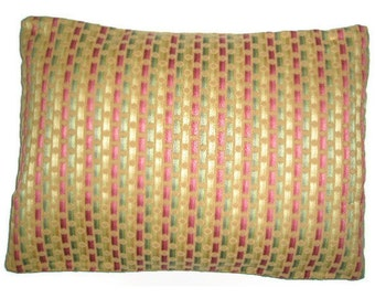 "Pillow Cover 15"" X 20"" Gold, Orange, Green, Yellow Polka Dots and Stripes"