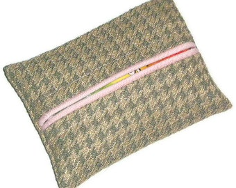 Travel Tissue Holder, Pink, Gray and Tan Houndstooth Check,Under 10 Dollars, Travel Tissue Cozy, Personal Size Purse Kleenex Holder