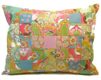 Patchwork Cushion, Pillow, Decorative Pillow Cover, Pink, Green, Gold in Fun Patchwork Throw Pillow