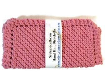 Hand Knit Dish Cloths Shabby Chic Pink