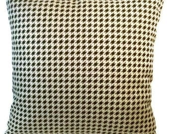 """Hounds Tooth Check Decorative Pillow Cover 18"""" X 18"""" Black and Off White, Throw Pillow, Home Decor"""