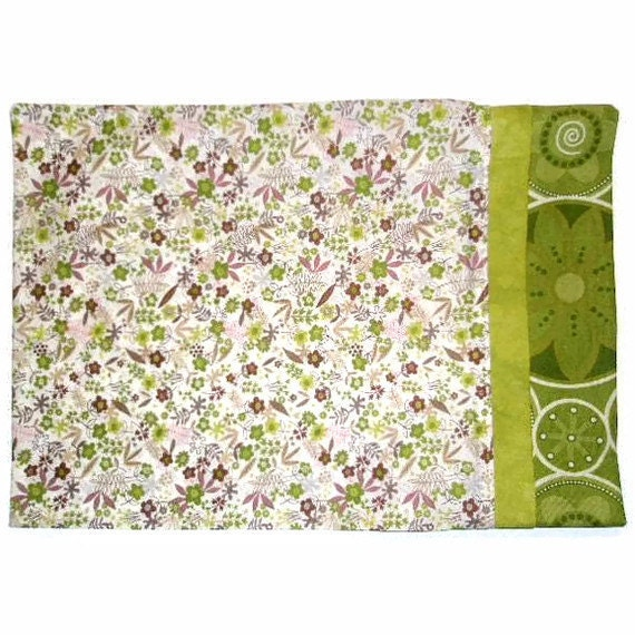 Travel Size Pillow Case Olive Green Brown Prints  Under 10 Dollars