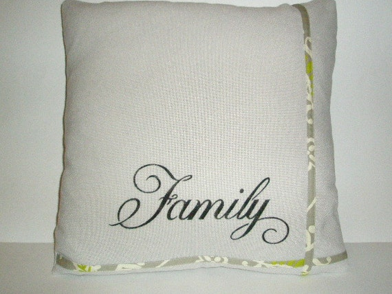 "Throw Pillow Cover 18"" X 18""  Gray, Lime Green, Purple, and Off  White Waverly Fabric Trim on Hand Stenciled Pillow Cover"