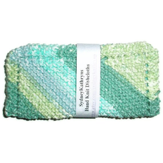 Hand Knit Dish Cloths Enjoy  Cleaning With Country Stripes Blue and Green Ombre