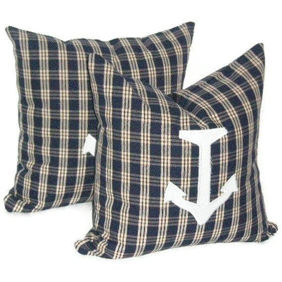 "Nautical, Anchors, Pillow Cover Pair,  18"" X 18"", Home Decor, Decorative Pillow"