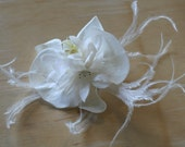 wedding feathered orchid hair piece