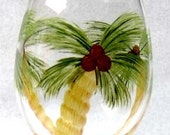 Palm Trees Wine Glass Hand Painted