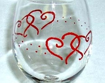 Wine Glass Red Hearts Hand Painted
