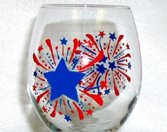 Fireworks Wine Glass Hand Painted