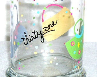 Thirty One Consultant Pencil Cup Hand Painted Glass