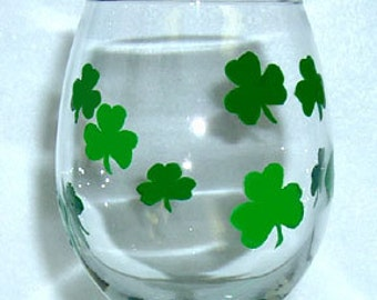 Wine Glass St. Patrick's Day Hand Painted
