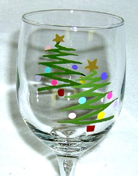 wine glass christmas tree hand painted