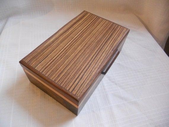 Walnut & Zebra Wood  Jewelry Box w/Maple  accents