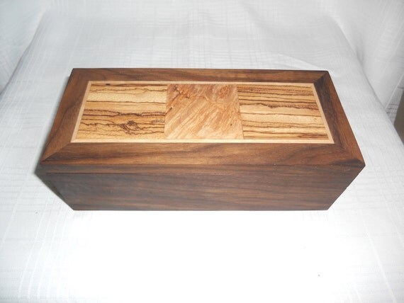Walnut Jewelry Box with Zebrawood and Quilted Maple Top