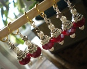 Red Star Bead Capped Czech and Pearl Stitch Markers set of (6)