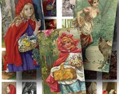Vintage Little Red Riding Hood Digital Collage Sheet SALE!!! Fairy Tale, Children's Story Digital Download Domino Size #1 INSTANT Download