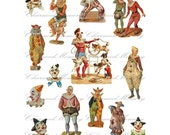 SALE!!!INSTANT Download - Vintage Clown Decoupage Collage Sheet  - Printable Images -  - Digital Download