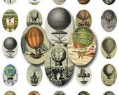 SALE!!!INSTANT Download - Vintage Hot Air Balloons (1) Digital Collage Sheet - 25mm x 18mm -  - Digital Download