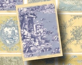 Faded Blue Toile Digital Collage Sheet SALE!!! French Blue, Yellow, Vintage, Aged, Background Patterns Digital Download ATC INSTANT Download