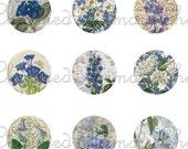 SALE!!!INSTANT Download - Vintage Blue and White Floral Digital Collage Sheet for 18mm Charms -  - Digital Download
