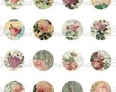 SALE!!! Carte Postale Rose Collage Sheet for 18mm Charms (2) Shabby Rose, Vintage Floral Script, Postmark Digital Download INSTANT Download