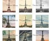 SALE!!! Eiffel Tower Printable Digital Collage Sheet - Digital Download French, Paris, Ephemera, France 1 inch Square (1) INSTANT Download