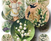 Lily of the Valley Digital Collage Sheet SALE!! Victorian Floral Flower Vintage Postcard Digital Download 2 Inch Circles #1 INSTANT Download