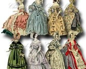 SALE!!! Paper Doll Digital Collage Sheet / Printable Digital Download / Regency Era Fashion Ladies in Gowns #6 png + jpeg INSTANT Download