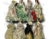 Paper Dolls ON SALE!!! Digital Collage Sheet - Digital Download - Regency Fashion Ladies in Gowns (9) png + jpeg - INSTANT Download