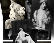 SALE!!!Girls and Pearls (2) - Ziegfeld Follies Digital Collage Sheet ATC -  - Printable INSTANT Download