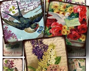 Birds and Flowers Digital Collage Sheet SALE!!! Victorian Floral Postcard Digital Download - Vintage Aged 2 Inch Square #3 INSTANT Download