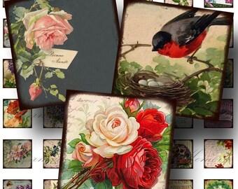 Birds and Flowers Digital Collage Sheet SALE!!! Victorian Floral Postcard Digital Download - Vintage Aged 1 Inch Square #2 INSTANT Download